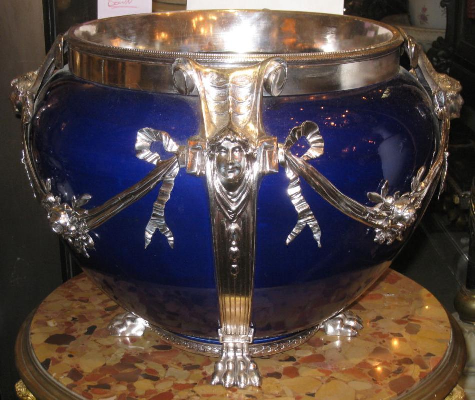 Neoclassical Cobalt Blue Ceramic & Silvered Bronze Jardiniere Pot Centerpiece