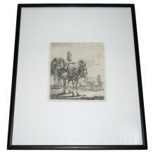 Karel DuJardin (-1678) Flemish Framed Engraving Print