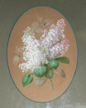 Antique French Lilac Floral Gouache Painting by Raoul Maucherat de Longpre