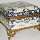 French Faience Ceramic Bronze Mounted Jewelry Dresser Box from Creil Montereau