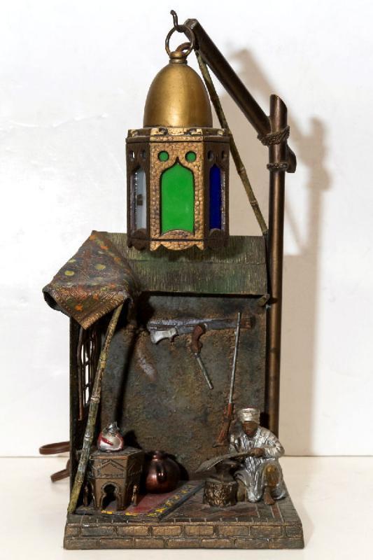 Vintage Orientalist Cold Painted Metal Lamp in Manner of Franz Bergman