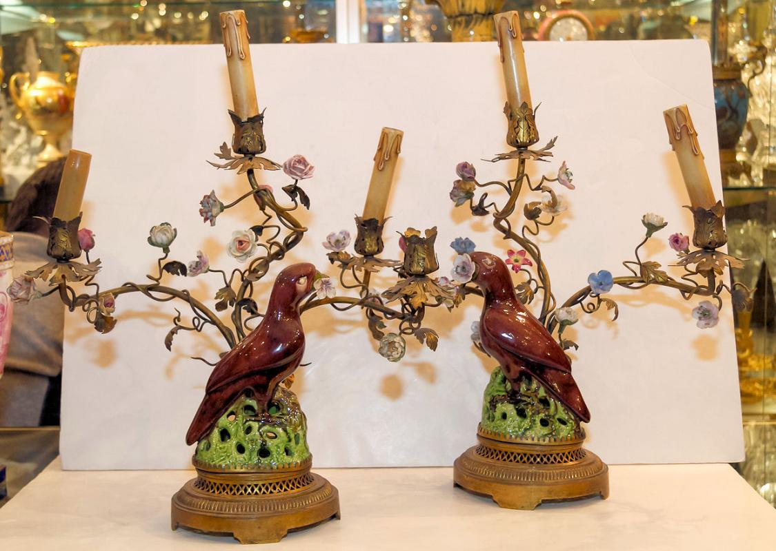 Pair Antique Porcelain & Metal Parrot Candelabra Table Lamps