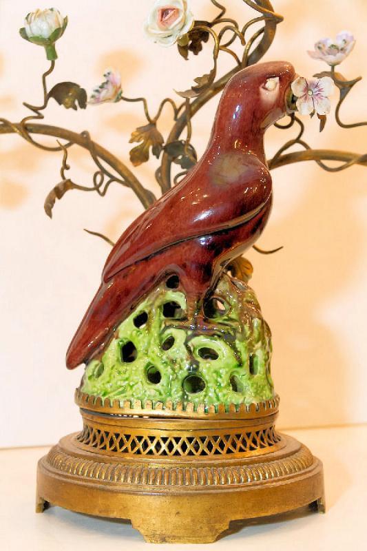 Pair Antique Porcelain & Metal Parrot Candelabra Table Lamps