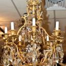 Antique Electrified English Regency Georgian Style Gilt Bronze Chandelier