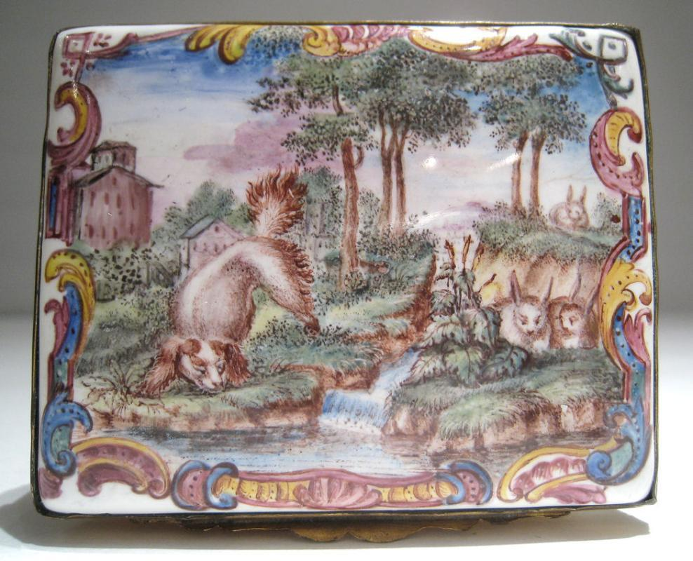 Antique Russian Mother of Pearl & Enameled Metal Snuff Box with Fox Motif