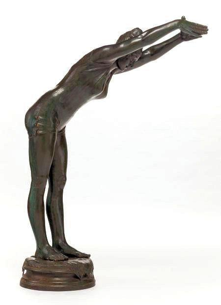 Bronze Statue of Female Diving Swimmer Bather After La Tuffolina by Odoardo Tabacchi