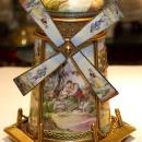 Vintage European Austrian Gilt Metal and Enamel Windmill Music Box