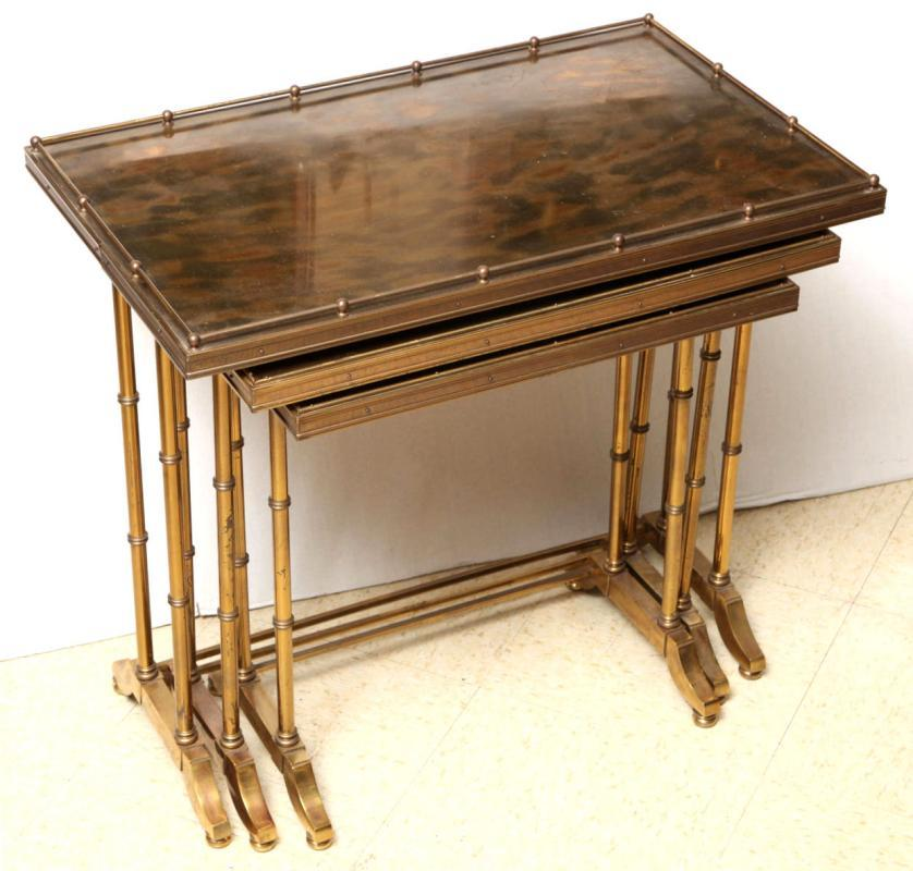 Set Vintage Gilt Brass Bamboo Leg Nesting Tables