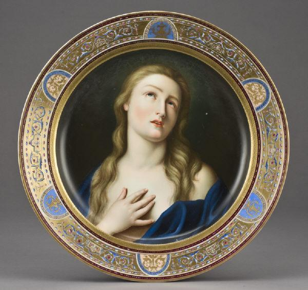 Antique Vienna Porcelain Charger Mary Magdalene After Guido Reni