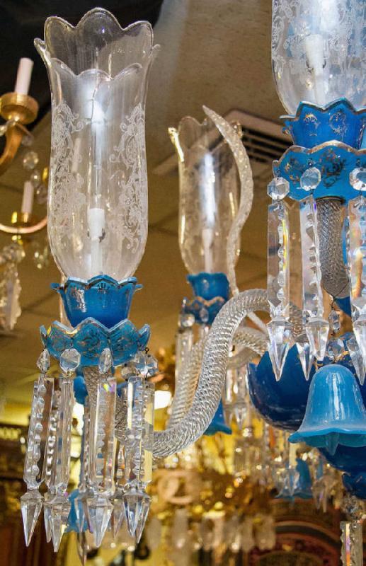 Exceptional Antique Blue Opaline Glass Chandelier