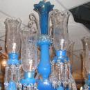Exceptional Antique Blue Opaline Glass Chandelier