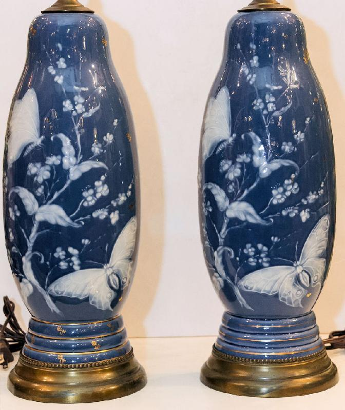 Pair Antique Pate-sur-pate Porcelain Table Lamps