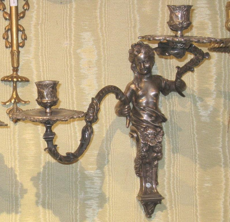 Pair Antique French Louis XIV Style Silvered Metal Sconces