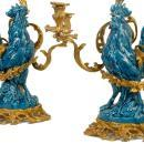 Pair Antique French Bronze Turquoise Porcelain Rooster Candelabra by Arson