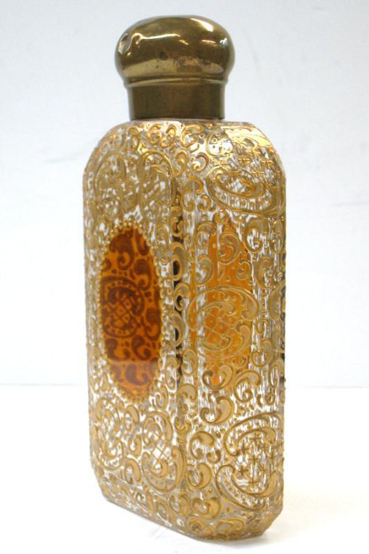 Antique Moser Bohemian Gilded Gilt Glass Flask
