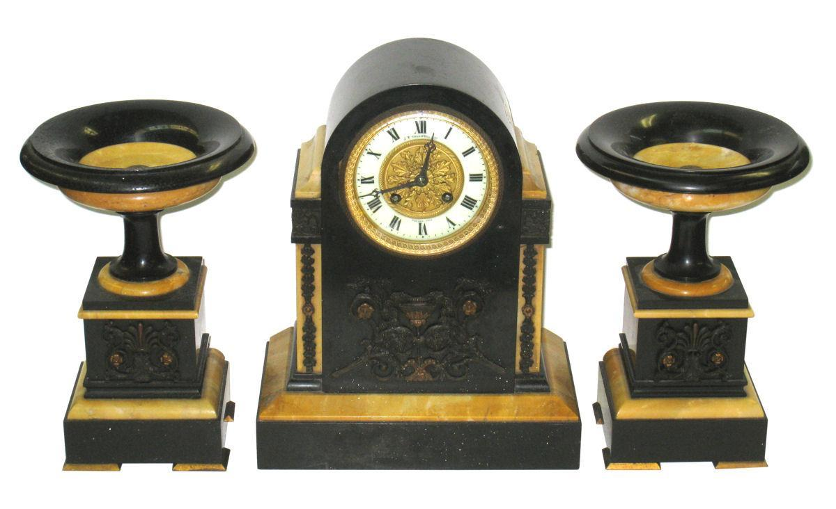 Antique French Neoclassical Marble & Bronze Mantel Clock Garniture from J.E. Caldwell of Philadelphia