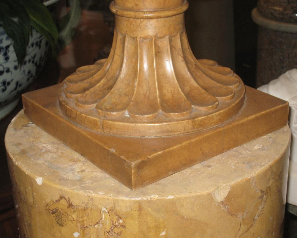 Pair Neoclassical Style Carved Alabaster Urns with Scagliola Pedestals