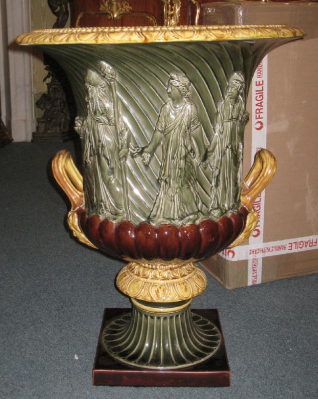 Large Neoclassical Sarreguemines French Majolica Campana Form Urn Jardiniere