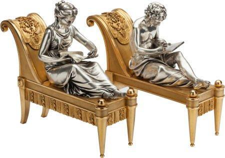 Pair Gilt and Silvered Bronze French Neoclassical Figurative Fireplace Chenets by Bouhon