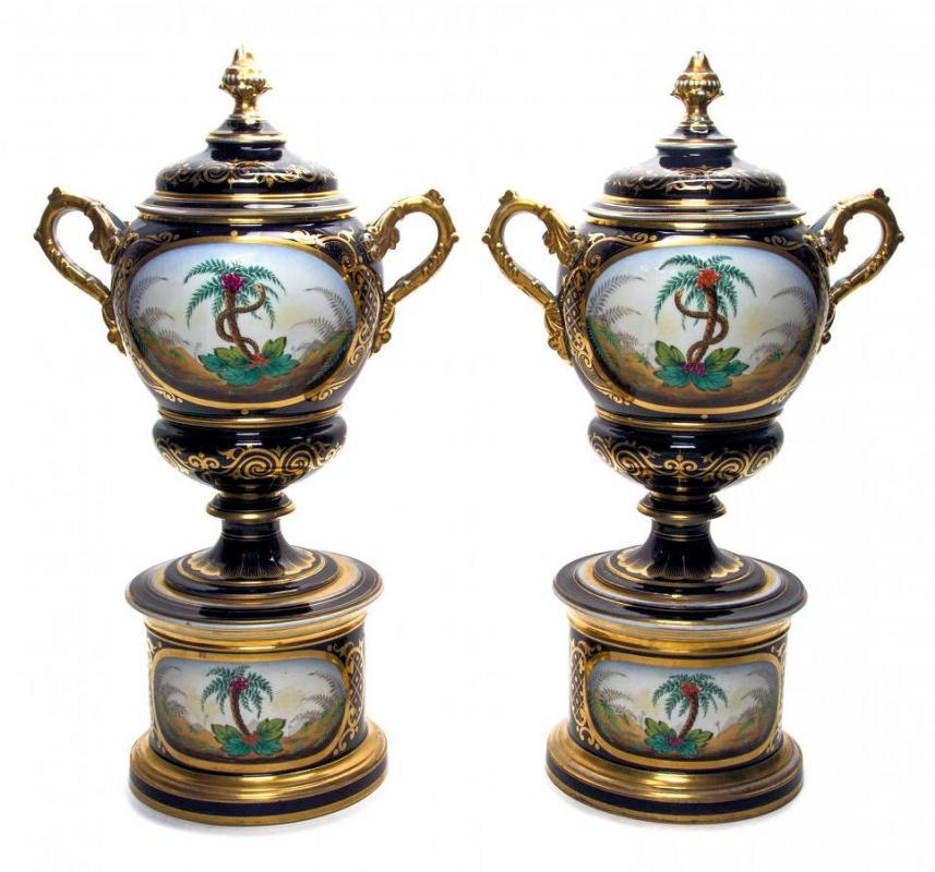 Pair Antique Figurative Painted Paris Porcelain Apothecary Urns with Lids
