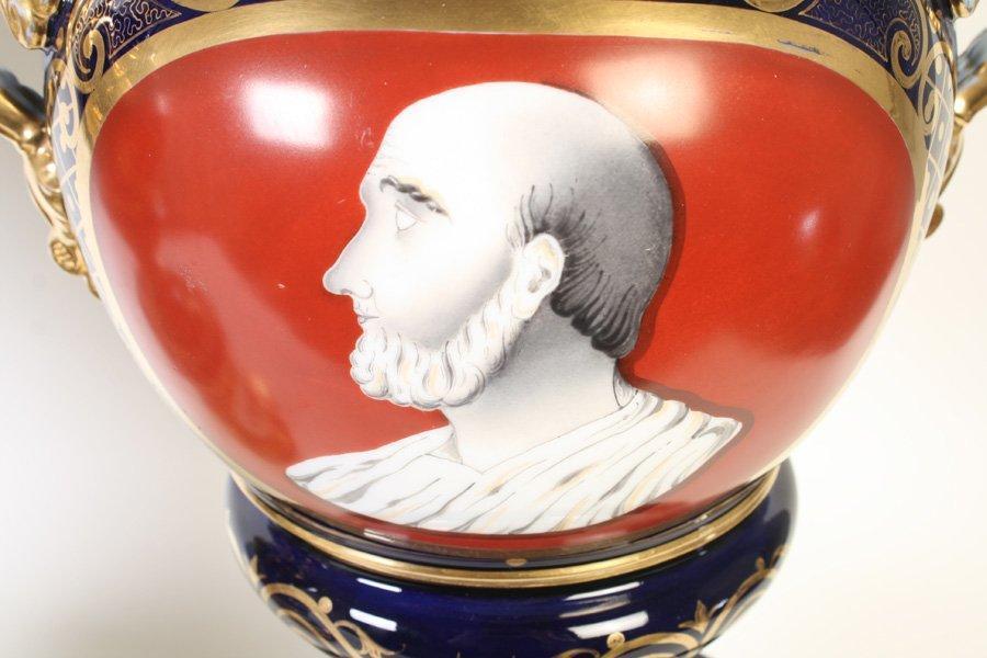 Pair Antique Figurative Painted Paris Porcelain Apothecary Urns with Lids