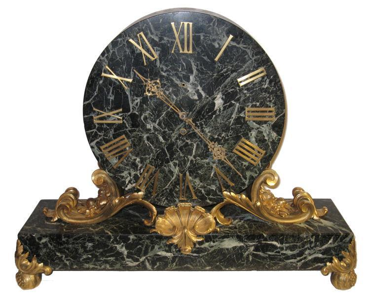 E.F. Caldwell Gilt Bronze Mounted Green Vert de Maurin Marble Mantle Clock