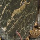 E.F. Caldwell Gilt Bronze Mounted Green Vert de Maurin Marble Mantle Clock