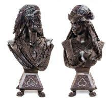 Antique Orientalist Male & Female Moor Busts in Patinated Metal