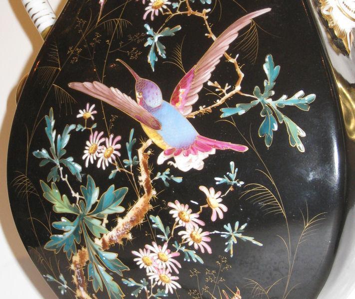 Pair Antique Paris Porcelain Vases in the Aesthetic Style