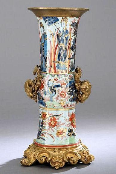 Antique Imari Porcelain Vase with Gilt Bronze Mounts