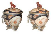 Pair Antique Chinese Imari Porcelain & Bronze Mounted Urns