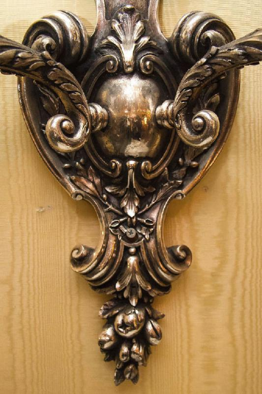 Pair Large Antique French Rococo Style Silvered Bronze Sconces