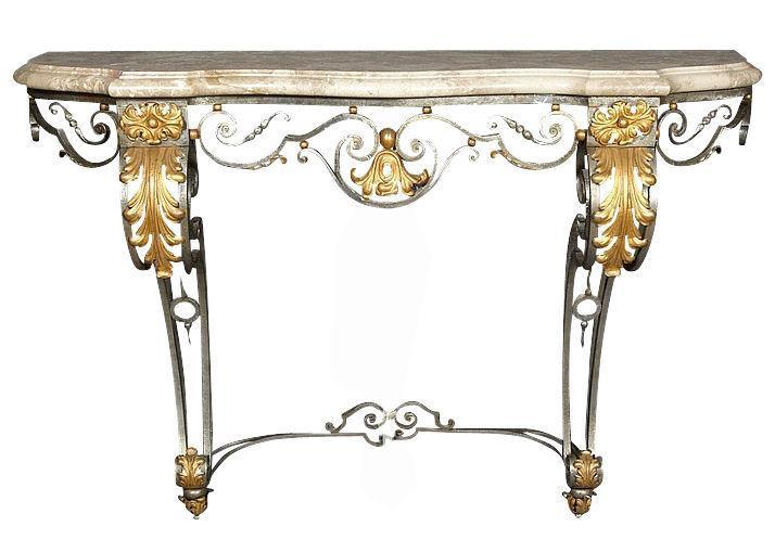 Vintage Gilbert Poillerat Style French Parcel Gilt Wrought Iron Marble  Console Table