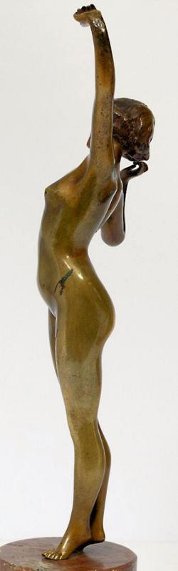 L'Eveil Awakening Art Nouveau Bronze Figurine After Paul Philippe