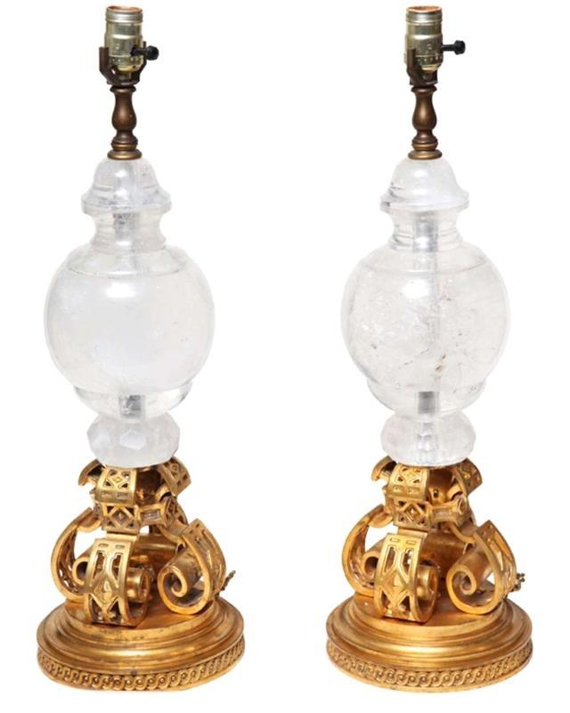 Pair Vintage Neo Gothic Gilt Bronze and Rock Crystal Table Lamps