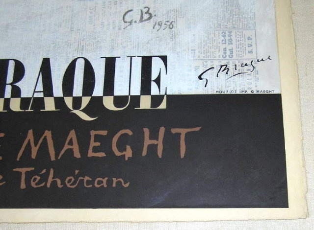 Galerie Maeght Lithograph Poster Aft BRAQUE