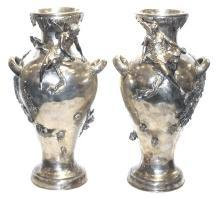 Mythological Cupid & Psyche Figural Silverplated Vases