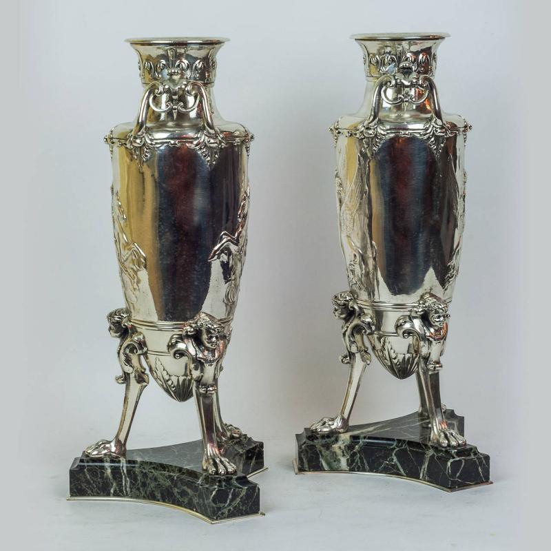 Neoclassical Greek Revival Silverplated Vases