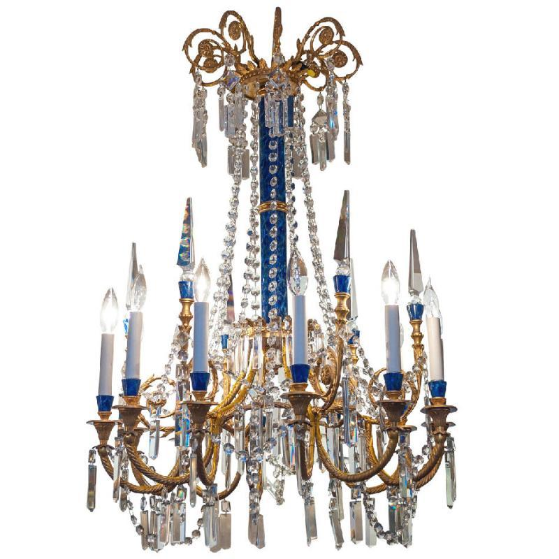 French Louis XVI Style Gilded Bronze and Faux Lapis Lazuli Stone Chandelier