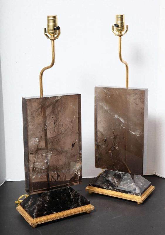 Pair Contemporary Smoke Colored Quartz Rock Crystal Table Lamps
