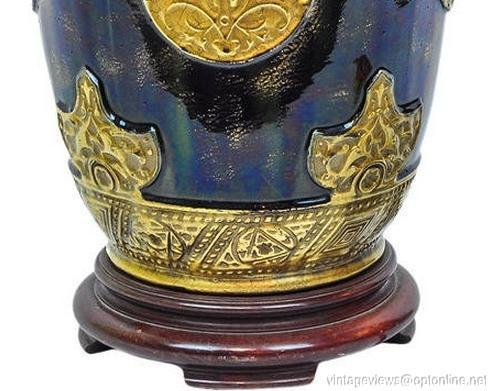 Antique Iridescent Blue Glazed Pottery Vase Lamp