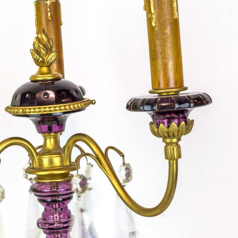 Pair Mid Century French Gilt Metal Amethyst Glass Candelabra Lamps
