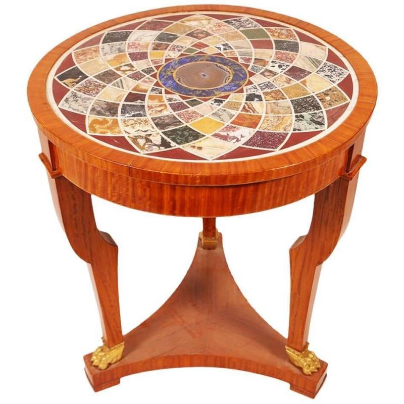 Antique Continental Neoclassical Mosaic Inlaid Specimen Marble Round Center Table