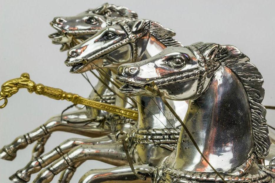 Silvered and Gilt Bronze Roman Chariot Warrior Sculpture
