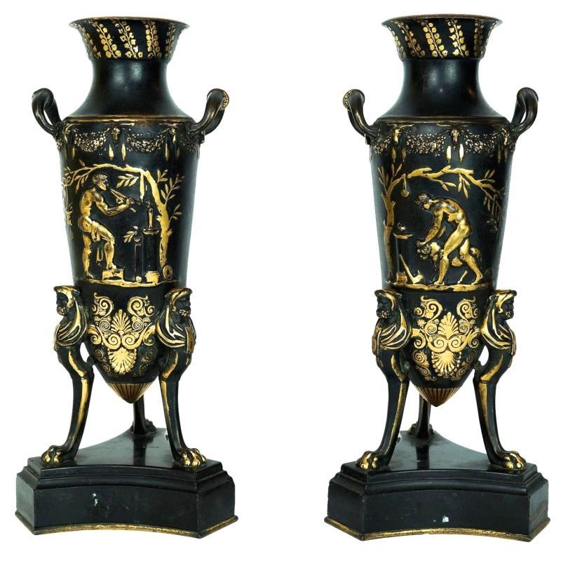 Pair French Neo-Grecian Greek Revival Bronze Amphora Vases After Ferdinand Levillain