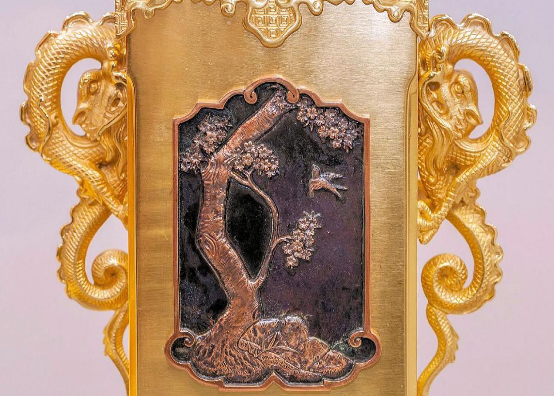 Antique Oriental Aesthetic Period Bronze Glock Garniture
