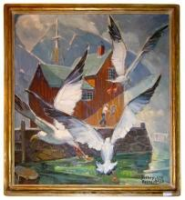 Rockport Motif #1 Mid-Century Modern Oil Painting by Sidney Riesenberg