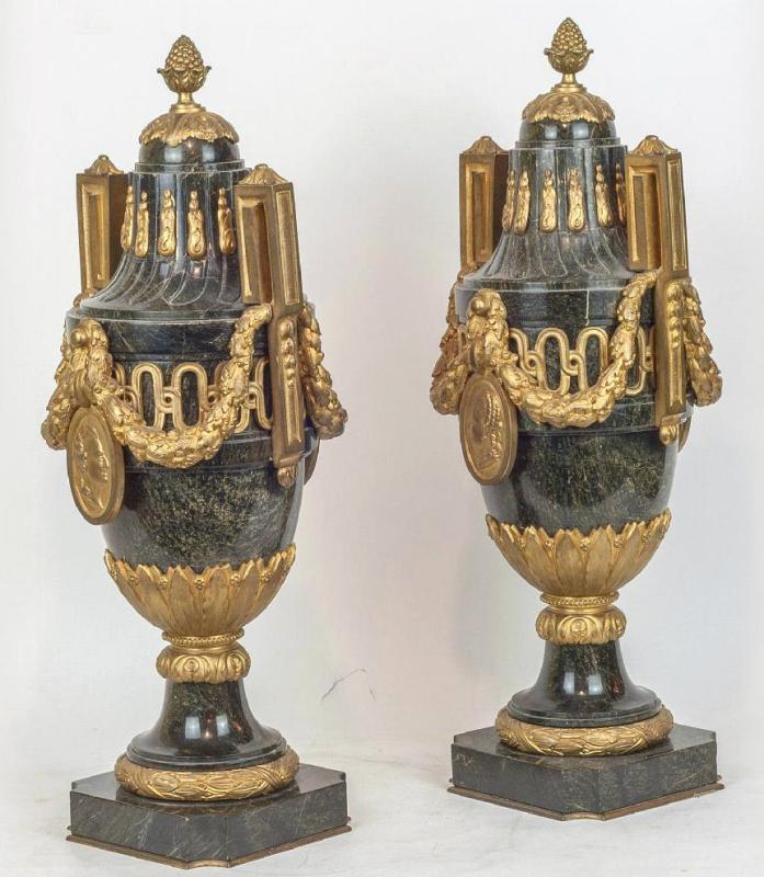 Pair Antique French Louis XVI Style Vert de Maurin Green Marble Bronze Mounted Urns