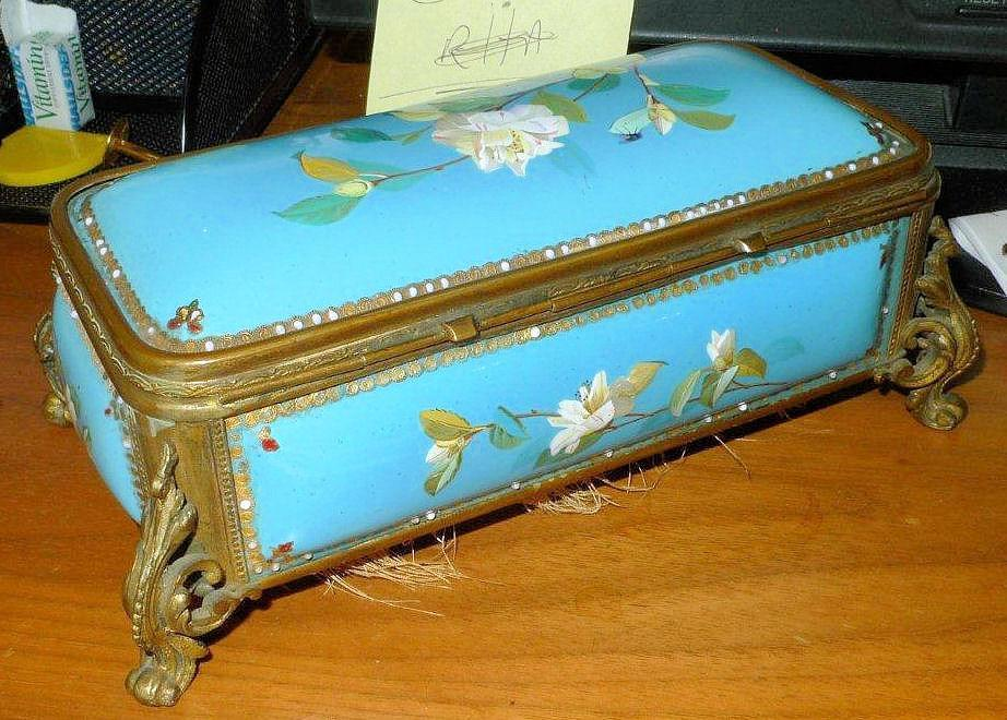 Antique French Enamelled Bronze Jewelry Casket Box