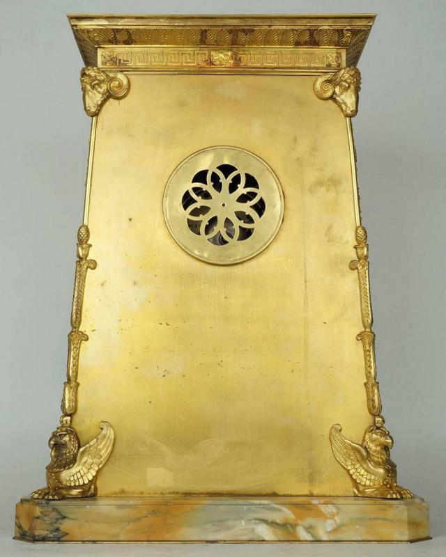 Antique French Empire Style Gilt Bronze Mantel Clock After Percier et Fontaine